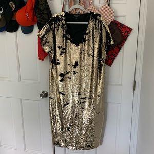 Gold flip sequin shift dress